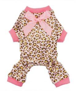 Fitwarm® Leopard Ribbon Soft Velvet Dog Pajamas for Pet Dog Clothes Comfy Pjs-1