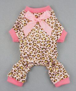 Fitwarm® Leopard Ribbon Soft Velvet Dog Pajamas for Pet Dog Clothes Comfy Pjs-2