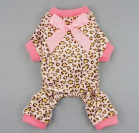 Fitwarm® Leopard Ribbon Soft Velvet Dog Pajamas for Pet Dog Clothes Comfy Pjs-2