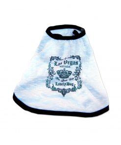 Anima White Tank Top with Black Trim, Sparkly Las Vegas Print, Poly Cotton Blend - Extra Large, Large, Medium, Small, Extra Small, 2XS-2