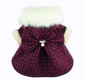 Fitwarm Fashion High Quality Pink Plaid Faux Furred Dog Dress for Pet Coats Bowknot Clothes-1