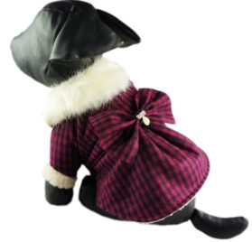 Fitwarm Fashion High Quality Pink Plaid Faux Furred Dog Dress for Pet Coats Bowknot Clothes-2