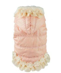 Fitwarm Noble Pink Floral Pet Dog Hoodie Coat Dress Warm Fleece Winter Clothes-1