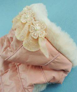 Fitwarm Noble Pink Floral Pet Dog Hoodie Coat Dress Warm Fleece Winter Clothes-2