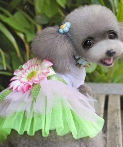 eSingyo Pet Cat Dog New Sunflower Princess TUTU Dress Skirt Cat Puppy Small Girl Dog Clothes XS S M L XL-2