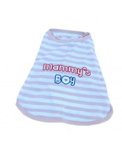 Anima Poly Cotton Blend Tan and White Stripe Mommy's Boy Tank Top, XX-Small-2