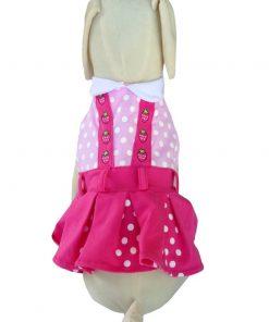 UP Collection Fuchsia Polka Dots Dog Dress, Pink, X-Small-2