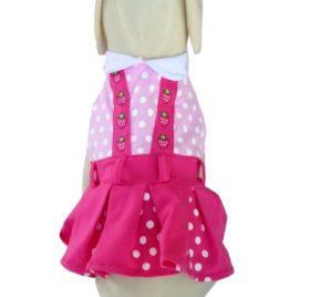 UP Collection Fuchsia Polka Dots Dog Dress, Pink, X-Small-2