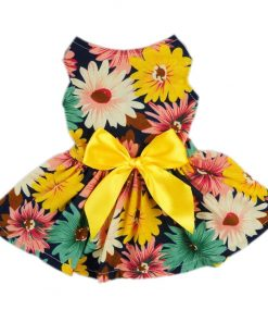 Fitwarm® Pet Elegant Floral Ribbon Dog Dress Shirt Vest Sundress Clothes Apparel-1