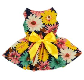 Fitwarm® Pet Elegant Floral Ribbon Dog Dress Shirt Vest Sundress Clothes Apparel-1