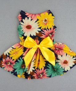 Fitwarm® Pet Elegant Floral Ribbon Dog Dress Shirt Vest Sundress Clothes Apparel-2