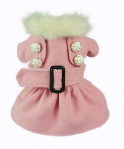Fitwarm High Quality Noble Pink Woolen Pet Clothes for Dog Jackets Coat Dress-1