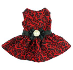 Fitwarm® Elegant Rose Bowknot Belt Dog Dress for Pet Cat Coat Vest Clothes-1