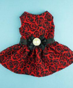 Fitwarm® Elegant Rose Bowknot Belt Dog Dress for Pet Cat Coat Vest Clothes-2