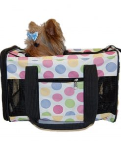 "Dog Cat and Pet PVC Nylon Duffle Style Travel Carrier - Various Colors [15 x 9"" x 10""]"""