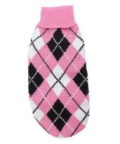 Ribbed Hem Rhombus Printed Pet Dog Yorkie Sweater XS Tri Colors