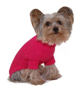 Designer Pet Clothes, Fuchsia Turtleneck Dog Sweater, Classic Aran Knit
