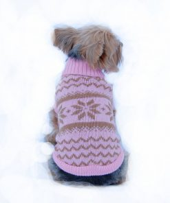 Anima Knit Snowflake Pattern Sweater - Blue/Pink (Large, Medium, Small, Extra Small)-1