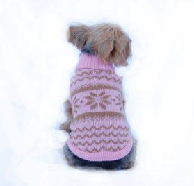 Anima Knit Snowflake Pattern Sweater - Blue/Pink (Large, Medium, Small, Extra Small)-1