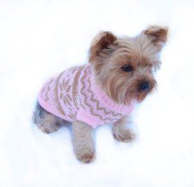Anima Knit Snowflake Pattern Sweater - Blue/Pink (Large, Medium, Small, Extra Small)-2