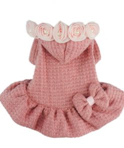 Fitwarm® Adorable Bowknot Pink Dog Sweaters for Pet Hoodies Coats Dress Clothes-1