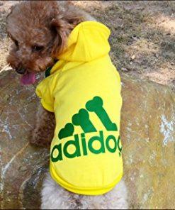Angel Mall Adidog Hoodie Pet Clothes Dog Sweater Puppy Sweatshirt Warm Small Coat Christmas Gift 1-pc Set (Yellow)-1