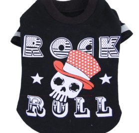 Black ROCK N ROLL Shirt for Dogs with Fun Skull Print, Gray or Black-2