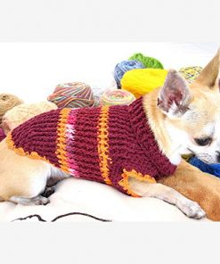 Designer Dog Sweater Cotton Burgundy Maroon Handmade Crochet Pet Clothing Popular Puppy Clothes Chihuahua Dk870 Myknitt - Free Shipping-1