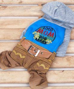 Pet Cat Dog Hooded Sweater Jeans Embroidered Flower Coat Jumpsuit Small Boy Girl Dog Clothes XS S M L XL-2