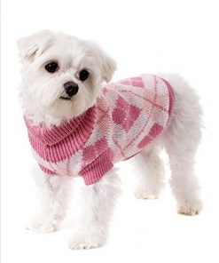 Pet Knitted Sweater Clothes Pink Square, X-small-1