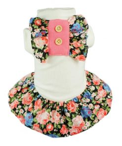 Fitwarm Elegant Floral Pet Dress for Dog Shirts Soft Clothes Vest Apparel-1
