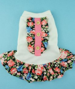 Fitwarm Elegant Floral Pet Dress for Dog Shirts Soft Clothes Vest Apparel-2