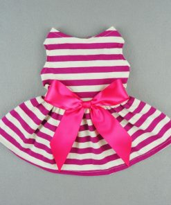Fitwarm® Casual Striped Ribbon Pet Dog Dress Vest Shirts Soft Cotton Clothes Apparel-2