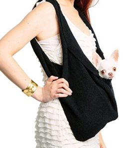 SHARK TANK SALE Black Scarf Sling Dog Carrier with Harness Clip by Heart Pup - patent pending ... without pocket-1