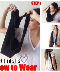 SHARK TANK SALE Black Scarf Sling Dog Carrier with Harness Clip by Heart Pup - patent pending ... without pocket-2