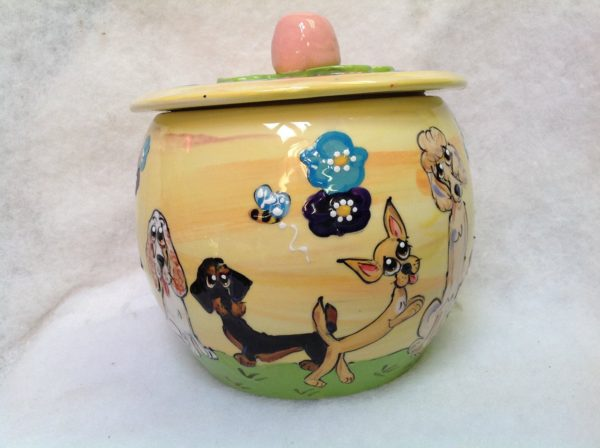 Treat Jar, Chihuahua, Ceramic for Dog Treats or Cookies Personalized at no Charge and signed by Artist, Debby Carman - 1