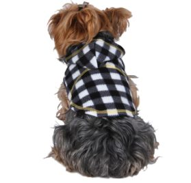 Anima Polyester Fleece Plaid Checked Hoodie Dog and Pet Jacket - 1