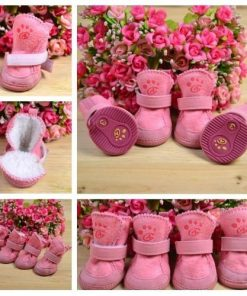 4pcs/set pet dog cat cotton shoes spring autumn winter boot pet bottes (Pink color, Size XS) - 1