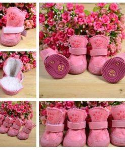 4pcs/set pet dog cat cotton shoes spring autumn winter boot pet bottes (Pink color, Size XS) - 1