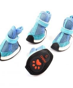 Pet Dog Puppy Meshy Hook Loop Fastener Shoes Booties XS 2 Pairs Blue - 1