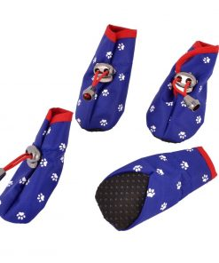Paw Printed Drawstring Closure Dog Shoes Boot XS 2 Pairs Blue - 1