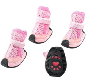 Pet Dog Doggie Detachable Closure Mesh Style Shoes XS 2 Pairs Pink - 1