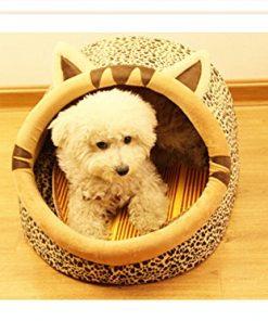 Follow518 Cute Leopard Shape Teddy Chihuahua Cat Soft Small Bed Autumn Winter Warm Pet House - 1