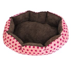 Indoor Warm Soft Pet Dot Print Bed House Kennel Pad Pink Fuchsia