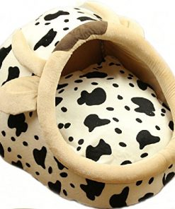 Follow518 Cute Dairy Cow Shape Teddy Chihuahua Cat Soft Small Bed Autumn Winter Warm Pet House - 1