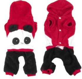 Short Sleeves Hooded Panda Shaped Chihuahua Pet Dog Cat Apparel Jumpsuit Red S-1