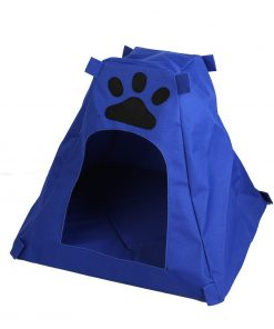 Paw Print Pet Removable Cushion Kennel House Doghole Blue - 1