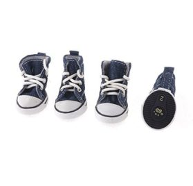 Water & Wood Pet Dog Chihuahua Navy Blue Running Rubber Sole Sneakers Shoes XS