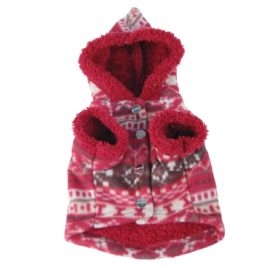 Snowflake Printed Fleece Dog and Pet Jacket with Fur Lining and Hood-2