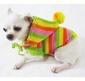 Rasta Green Orange Colorful Dog Hoodie Pet Clothes Cotton Unique Handmade Crochet Cute Puppy Clothing Chihuahua Sweater Dk971 By Myknitt - Free Shipping-2